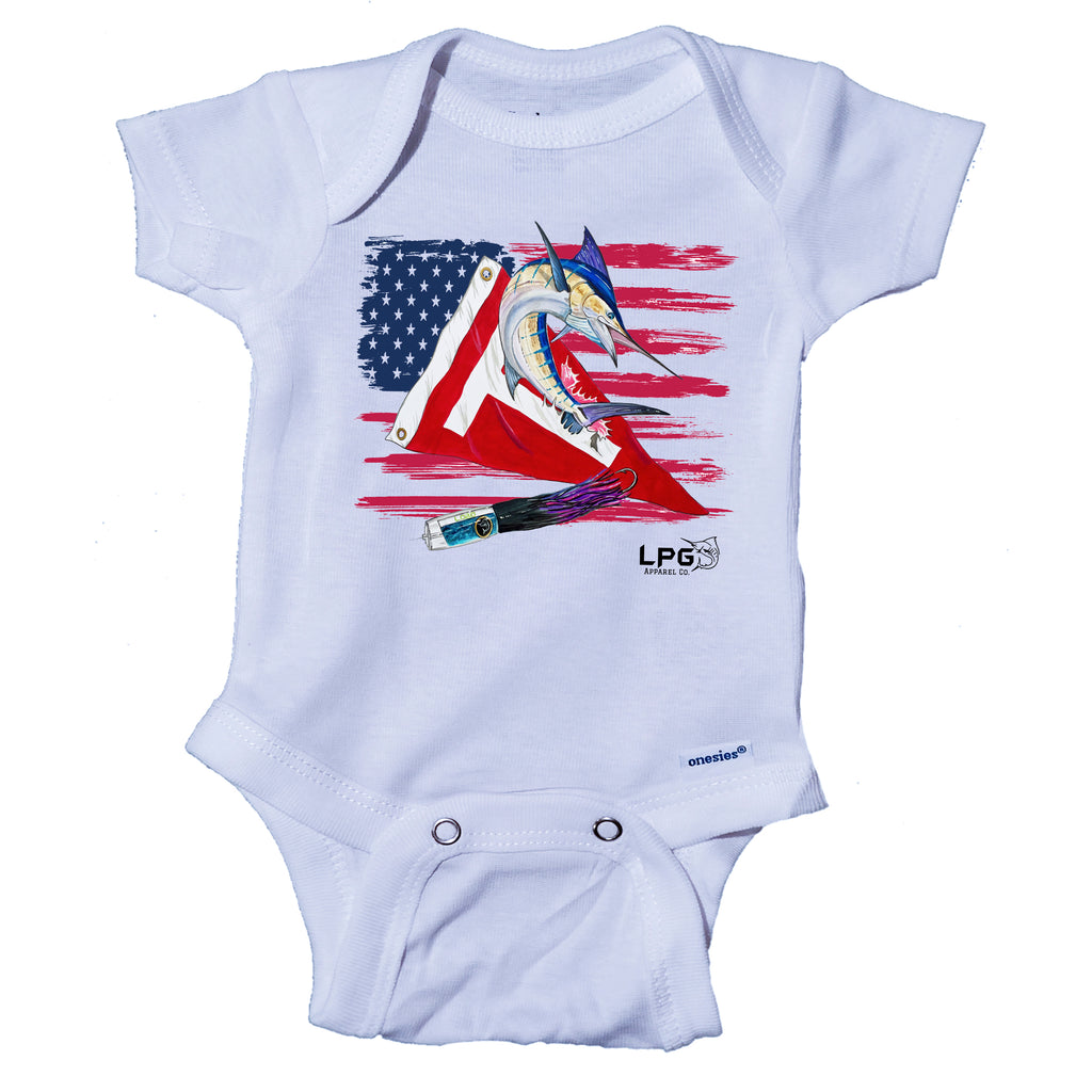 LPG Apparel Co. Tag & Release Patriotic USA Marlin Fishing Onesie® Big Game Fishing Onesie, Fishing Baby, Fishing Body Suit, Lobo Lures Onesie, Mark Ray Onesie, White Marlin Onesie, Blue Marlin Onesie, Tag and Release Fishing, Baby Fishing Apparel