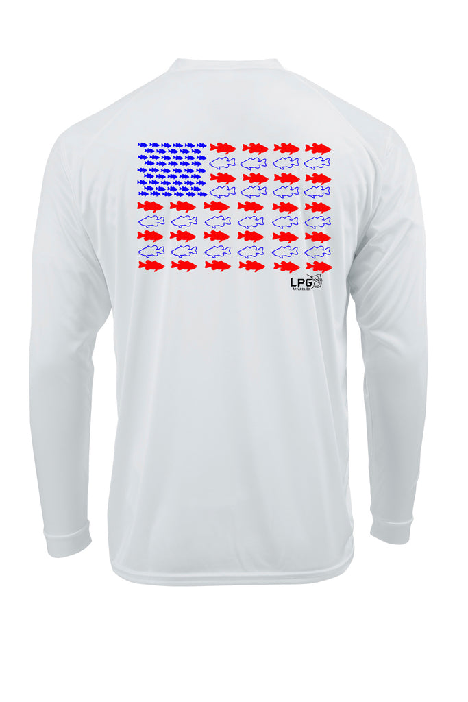 LPG Americano Patriotic BASS Edition Long Sleeve Performance UPF 50+ T-Shirt Lobo Lures T-shirt, Bass Fishing T-Shirt, Inshore Fishing Tee, Bass Tee, Patriotic Fishing T-Shirt