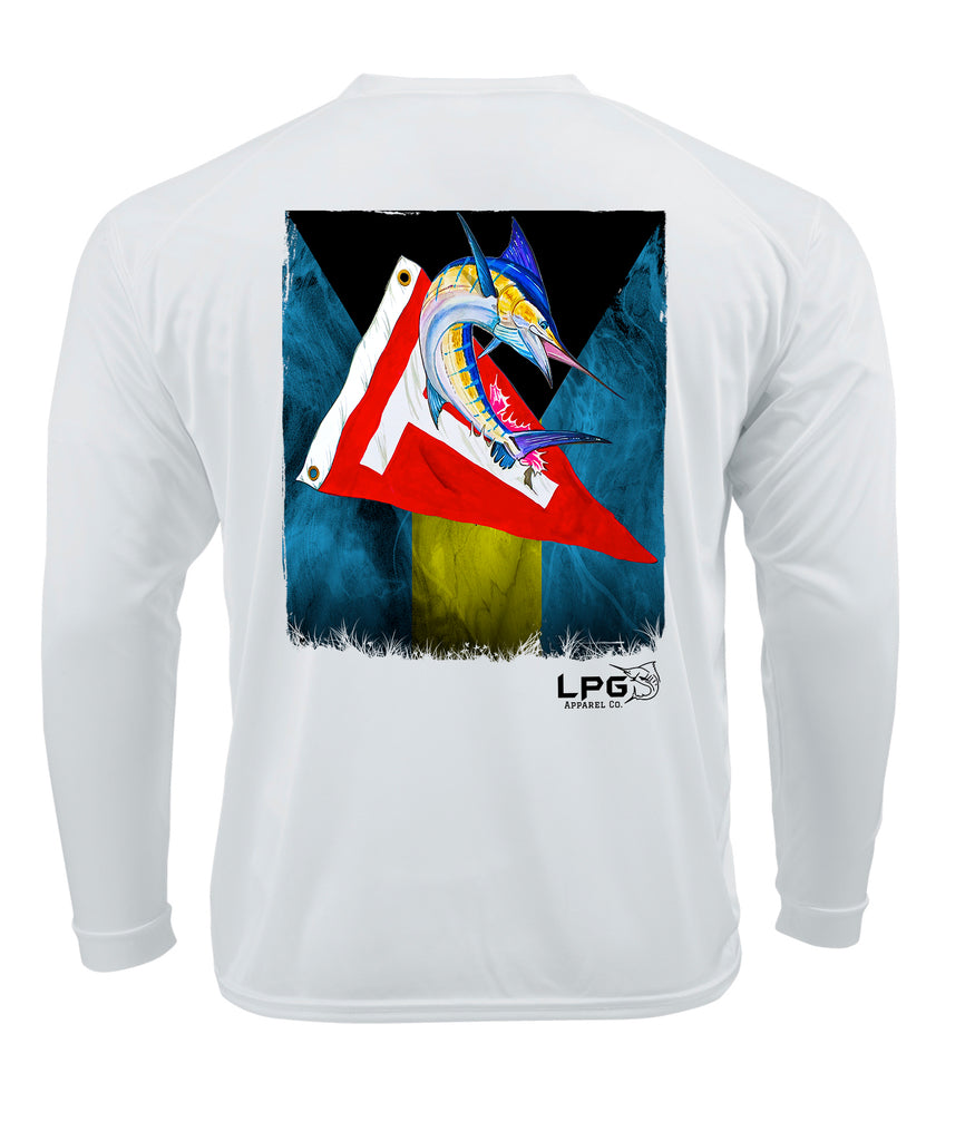 lobo-sportfishing - LPG Apparel Co. Bahama Flag Tag & Release Grunge Marlin LS Performance Dri-Fit UPF 50+Rashguard T-Shirt - Lobo Lures -