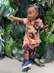 Graphite Reverse Tie Dye Kids Unisex Short Set