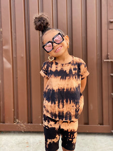 Girls Reverse Tie Dye Biker Short Set.