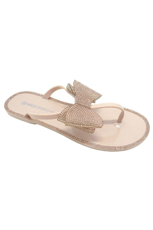 Nude Flat Jelly Diamante Rhinestone Bow Flip Flop Sandals