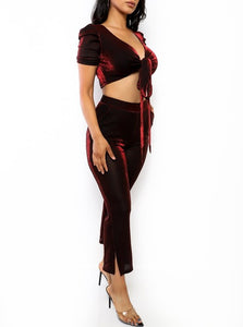 Eva 2 Piece Crop Top Pants Set - Red
