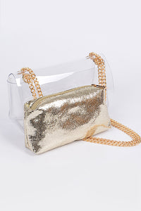 Gold Clear Clutch With Shiny Clutch Inside