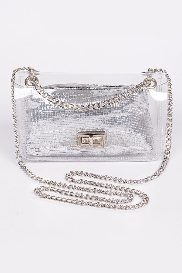 Sliver Clear Clutch With Shiny Pouch