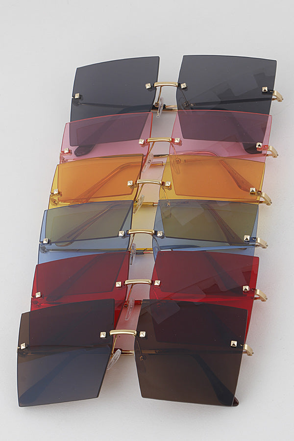 Colorful Gold Rim XXLarge Square Sunglasses