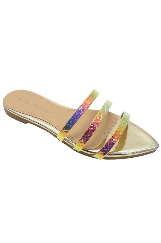 3 Striped Hologram Golden Flat Sandals