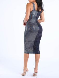 Alex Hologram Midi Dress - Navy Blue/Silver