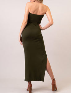 Freya Tube Top Maxi Dress - Olive