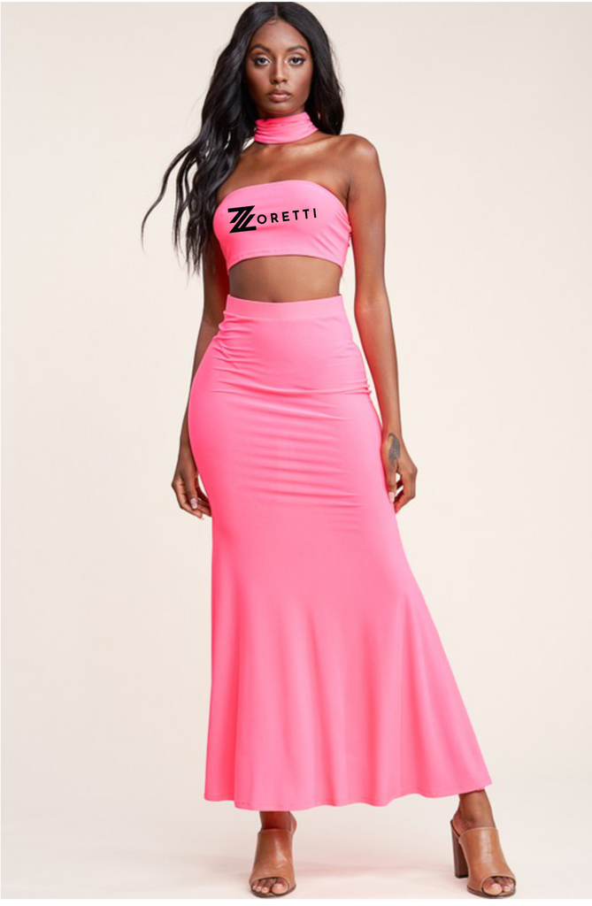 Isla Crop Top Maxi Skirt Set With Scarf - Pink