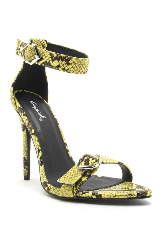 Yellow Snakeskin Stiletto Heels