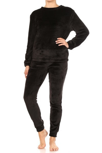 Audre Faux Fur Fuzzy Sweater Top and matching Jogger Sweatpants - Black