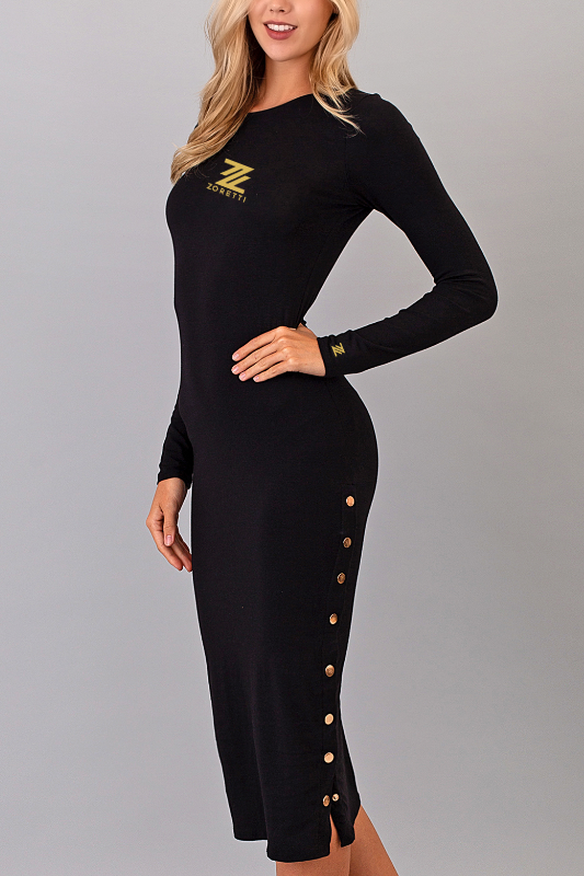 Melanie Long Sleeve Midi Dress - Black