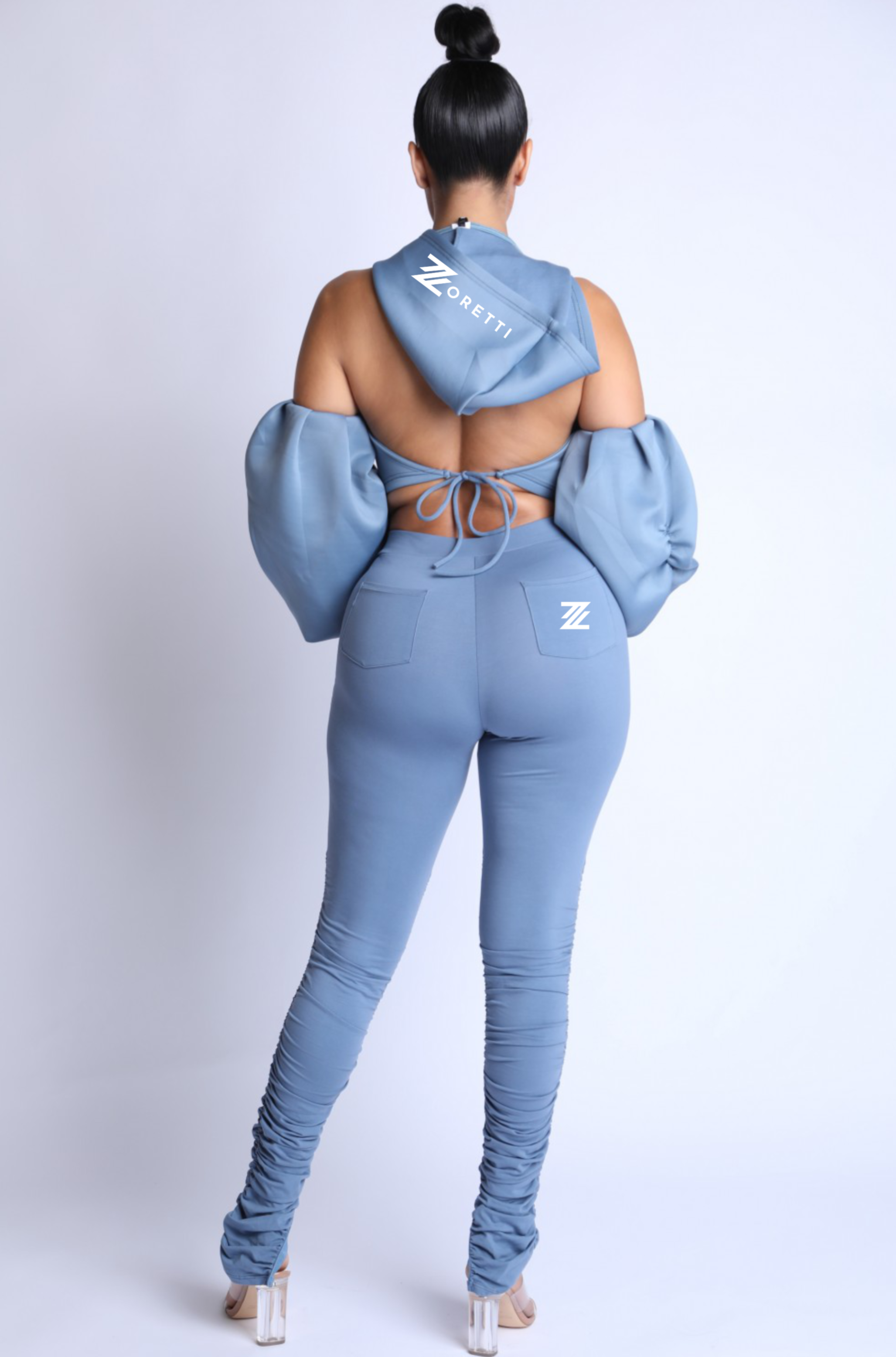 Saide 2 Piece Hooded Crop Top Ruched Pants Set - Baby Blue