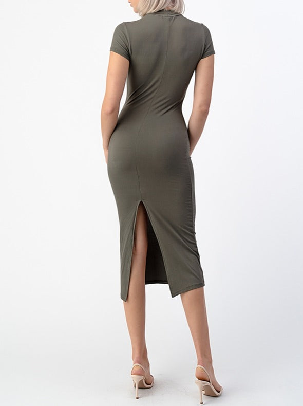 Olivia Bodycon Midi Dress - Olive