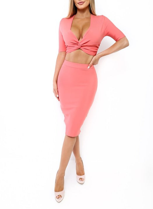 Vicky 2 Piece Crop Top Skirt Set  - Pink