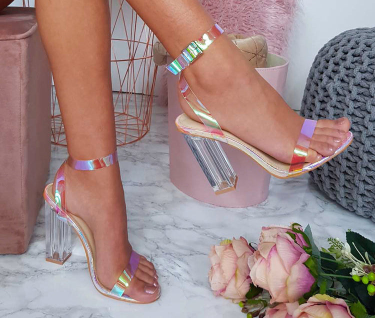 Iridescent Clear Strapped Heels