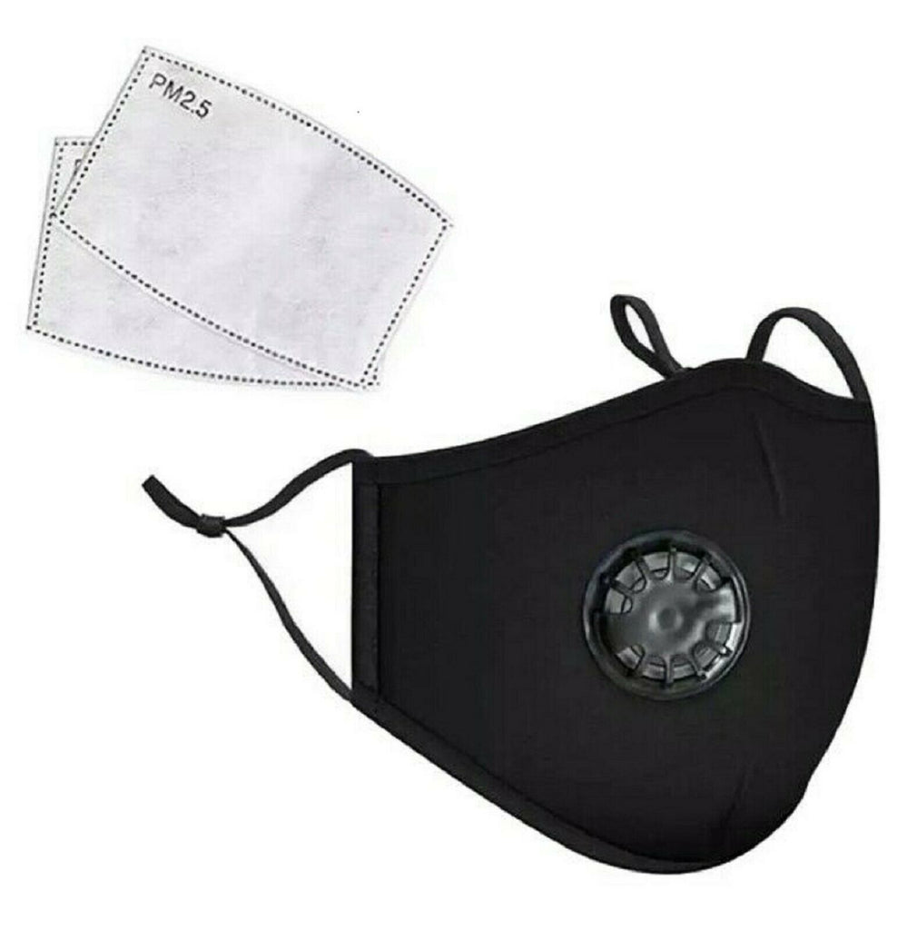 Reusable black cotton face mask with valve, + 1 PM2.5 filter