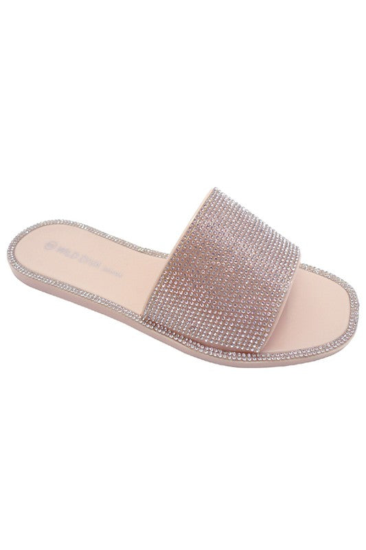 Nude Rhinestone Slipper Sandals
