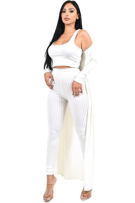 Cayla 3 Piece Cardigan, Crop Top , Legging Set - White
