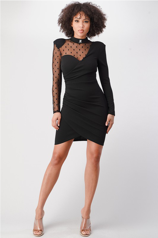 Lisa Long Sleeve Dress - Black