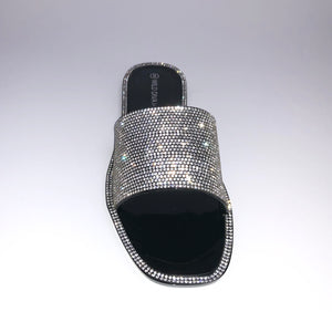 Black Rhinestone Slipper Sandals