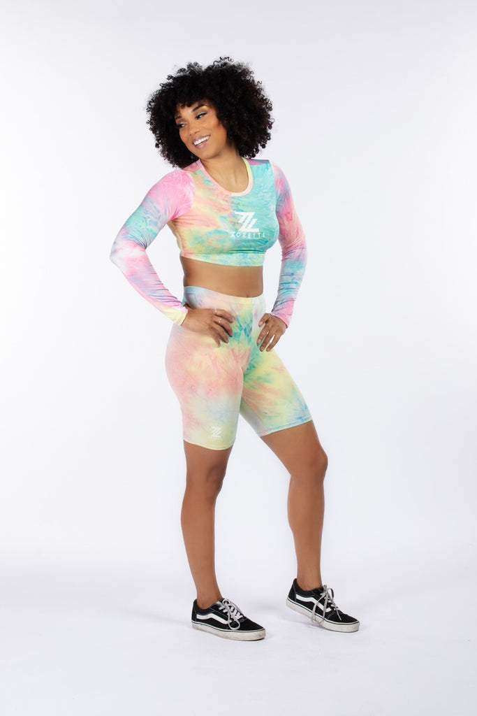 Toni 2 Piece Long Sleeve Crop Top Shorts Set- Pink Tie Dye