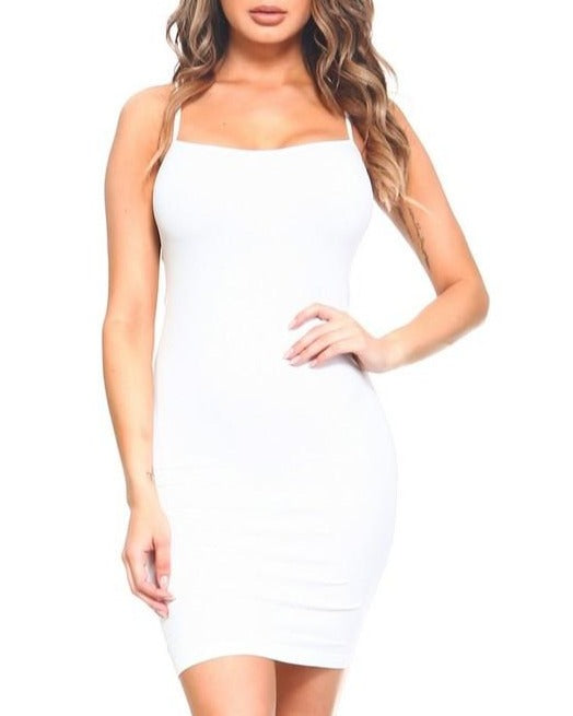 Spaghetti Strap Dress - White ( Free With Purchase )