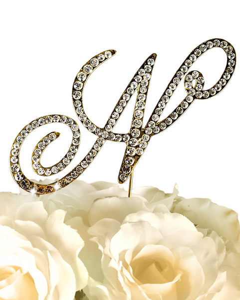 Rhinestone Cake Topper - Victorian Letter N - Large - Gold