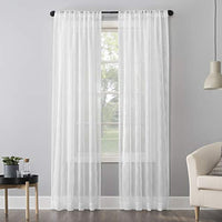 "No. 918 Tamaryn Embroidered Trellis Sheer Rod Pocket Curtain Panel, 50"" x 63"", White"