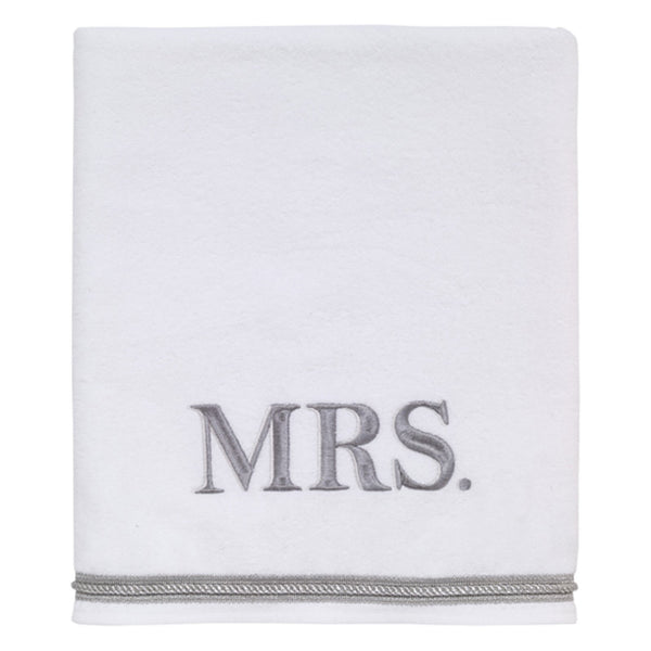 Mrs. Embroidered Bath Towel - White