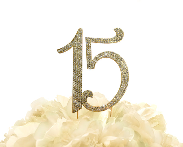 Rhinestone Cake Topper - Number 15 - Gold