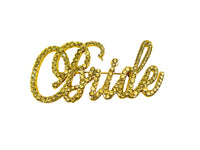 Rhinestone Pin - Bride - Gold