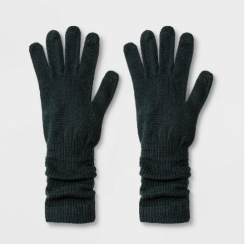 Women's Extended Knit Gloves - A New Day Dark Green One Size