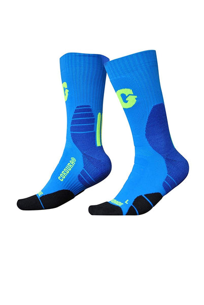 U.S. Sporting Goods Cushioned Performance Socks (Blue/Lime)