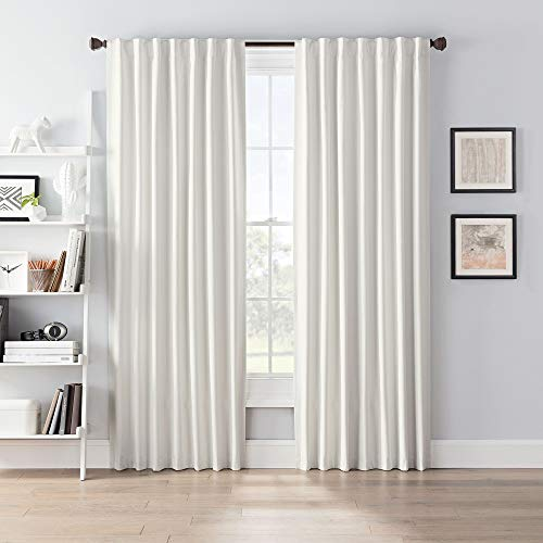"SmartBlock Chroma Rod Pocket Blackout Curtain Panel, Ivory, 54"" L x 50"" W (Single Panel)"
