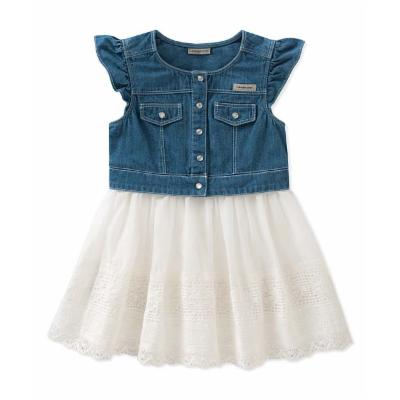 Calvin Klein Denim Dress with White Lace Skirt in Blue/White 3-6 months
