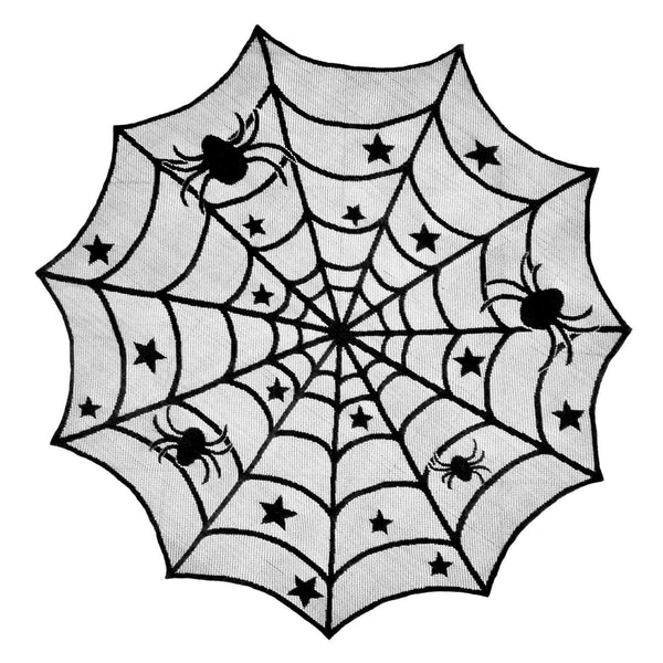 Halloween Spiderweb Black Lace Table Cloth
