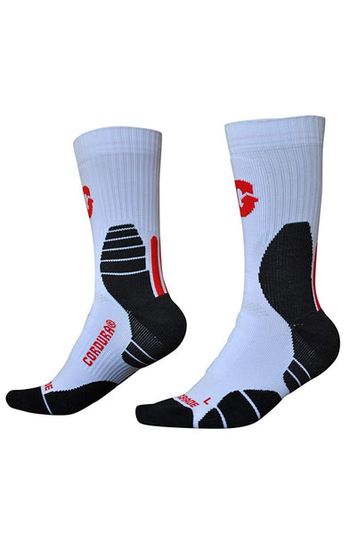 U.S. Sporting Goods Cushioned Performance Socks (White/Red)