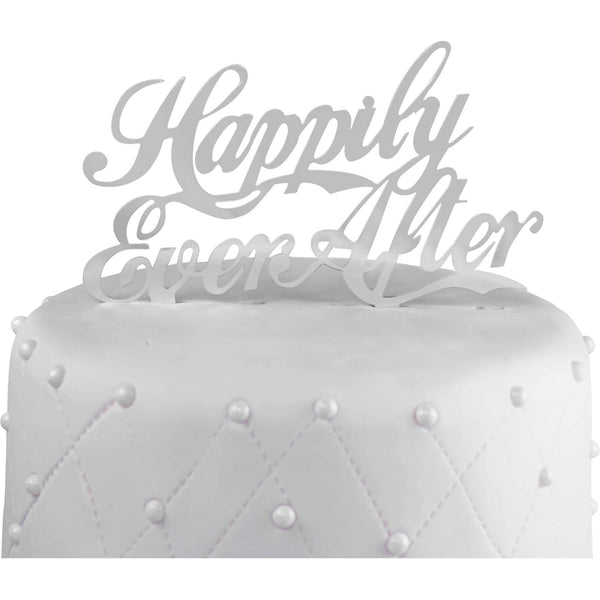 "Unik Occasions ""Happily Ever After"" Acrylic Wedding Cake Topper, Silver Mirror"