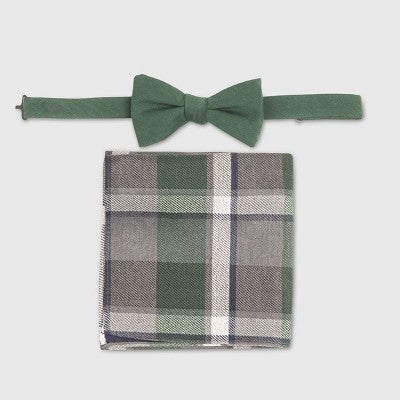 Men's Bowtie and Pocket Square Set - Goodfellow & Co Late Night Green One Size