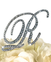 Rhinestone Cake Topper - Victorian Letter R - Large - Silver