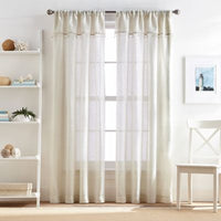 Lagos 108-Inch Rod Pocket Window Curtain Panel with Valance in Linen