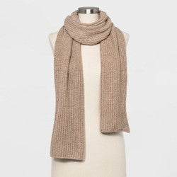 Women's Shaker Stitch Knit Scarf - A New Day Oatmeal Heather One Size