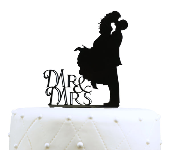 Mr. & Mrs. Kissing Couple Silhouette Acrylic Wedding Cake Topper