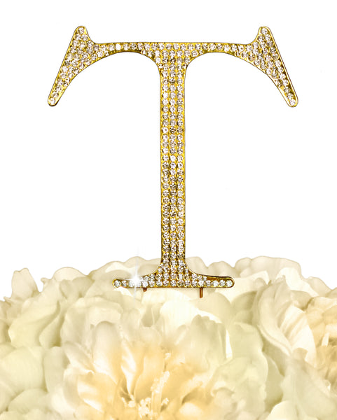 Rhinestone Cake Topper - Unik Occasions Letter T - Large - Gold