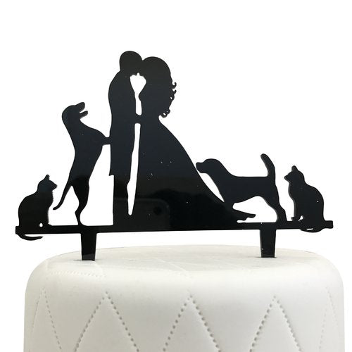 Unik Occasions Bride, Groom, Two Dogs & Two Cats Silhouette Acrylic Cake Topper