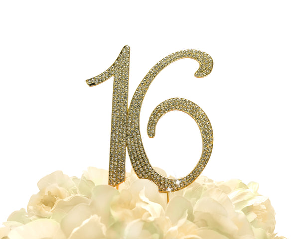 Rhinestone Cake Topper - Number 16 - Gold