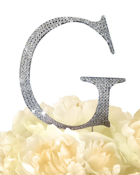 Rhinestone Cake Topper - Unik Occasions Letter G - Large - Silver