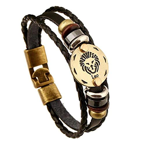 Divine Kids Zodiac Sign Leather Bracelet (Leo)